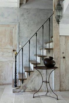 As I waltz quietly up this staircase, the only thing that noble hears is the beautiful swish of my nightgown. Wrought Iron Stair Railing, Staircase Railings, Staircase Design, Stairways, Iron Railings, Banisters, Balustrade Design, Basement Staircase, Rustic Staircase