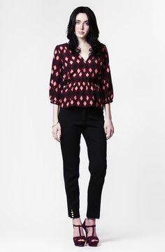 Norwood Blouse in Amethyst Marquee Print Silk + Cigarette Pant in Black Wool by LEONA
