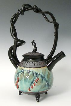 """Basket Handled Teapot with Red Berries""  Ceramic Teapot  Created by Suzanne Crane"