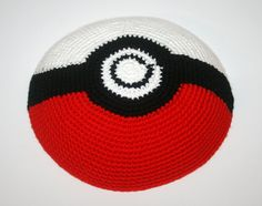 kippah pokeball by crochetkippah on Etsy