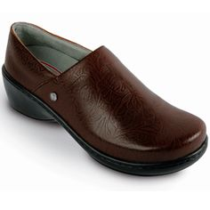 """Zoom / More views     Klogs Genoa Coffee Tooled Women's Leather Shoe      Klogs Genoa Coffee Tooled Women's Leather Shoe is for working long hours on your feet is a breeze thanks to the """"WOW"""" Komfort of the Genoa. The KLOGS Komfort microfiber footbeds with excellent arch support provide superior cushion and all day comfort while reducing foot fatigue and heel pain; the footbeds are even removable to accommodate orthotics. Flexible, slip-resistant polyurethane outsoles offer additional shock…"""