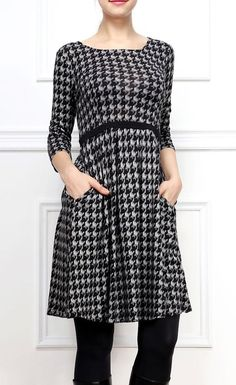 Gray Houndstooth A-Line Dress  Would look cute on A!
