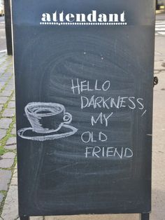 The Attendant Cafe in Soho. Great idea for chalkboard signage Coffee Shop To Go