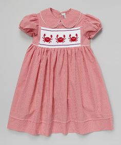 Another great find on #zulily! Red Gingham Smocked Crab Dress - Infant & Girls #zulilyfinds