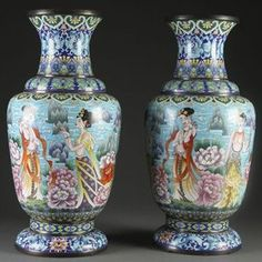 Very Large Oriental Floor Size Vases - very decorative if you love blues.
