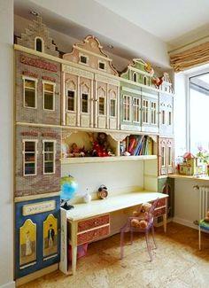 cabinet door city for kids play room storage idea