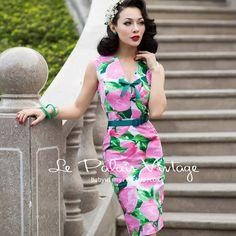 5d1ecb2cc4d 40- le palais vintage women 50s pink lemon bow v neck tank wiggle midi pencil  dress plus size 4xl sexy vestidos pinup dresses