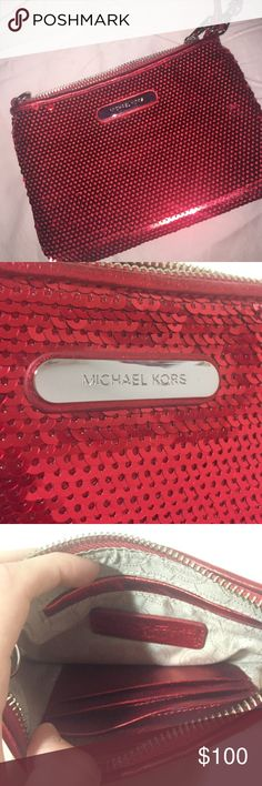Micheal Kors sparkly red wristlet Red sequin sparkly wristlet. So beautiful and  Perfect for the holidays! Never been used NWOT Michael Kors Bags Clutches & Wristlets