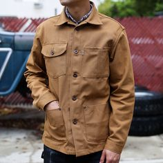 The Railcar Canvas Chore Coat is the ultimate Made-in-USA jacket. These Chore Coats are 100% American made, featuring 12 Ounce American Canvas Fabric, Made in USA Custom Hardware, Made in USA Thread and labels, and are 100% cut and sewn here at our workshop in Monrovia, CA.