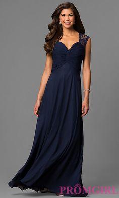 Image of long sleeveless lace-back dress Style: FB-GL1376P Front Image