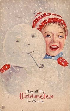 """""""May all the Christmas Joys be yours"""" - vintage greeting card (snowfolk, snowman)"""
