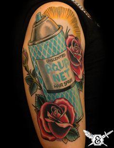 Aqua Net by Ink and Dagger Tattoo Hairdresser Tattoos, Hairstylist Tattoos, Cosmetology Tattoos, Cosmetologist Tattoo, Bad Tattoos, Body Art Tattoos, Cool Tattoos, Worst Tattoos, Tatoos