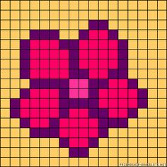 Small flower chart for cross stitch, knitting, knotting, beading, weaving, pixel art, and other crafting projects.