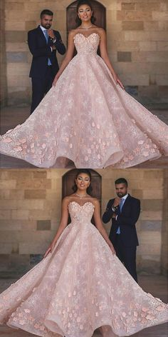 A-Line Sweetheart Floor-Length Pink Beaded Lace Prom Dress with Appliques, unique pink beaded prom dresses. vintage sweetheart lace evening dresses