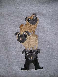 Embroidered Pug Stack Hoodie by EmbroiderybyAlison on Etsy, $32.00