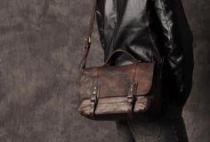 Handmade leather men Briefcase messenger vintage shoulder laptop bag v | EverHandmade