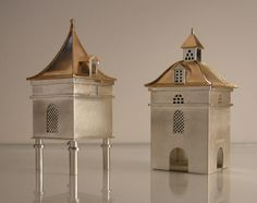 VICKI AMBERY-SMITH -  Metal & Jewellery - These spice boxes are based on the wonderful little follies in the wine regions of the rural French countryside.  They originated in the 18th century to house the pigeons that provided the all-important manure for the vineyards.  Without this precious resource the wine did not get it's 'apalacion contrôle'.
