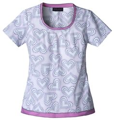 "Baby Phat Women's Scoop Neck Scrub Top in ""Purr-Licious"" 26881-PURL  Scoop neck top features a two in one effect. Its contrast neckline and bottom hem flange give a double layered effect. Side angled pockets, center back elastic, and pinch darts around the neck add shape and perfect this top. Center back length: 25 1/2"".  $24.00  #scrubs #scrubcouture #nurses"