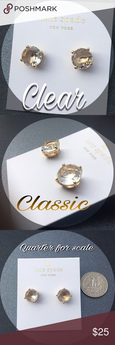 ♠️️Clear Kate Spade Earrings♠️️ New with tags, Kate Spade Studs with gold colored hardware in the classic Kate Spade Gumdrop style. Clear plastic stone, four prongs, 12 karat gold plated metal and 14 karat gold filled posts. Bought personally from a Kate Spade Outlet, no dust bag with purchase. kate spade Jewelry Earrings