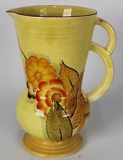 CROWN DEVON FIELDING PITCHER MADE IN ENGLAND YELLOW WITH FLOWERS