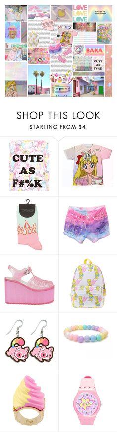 """~ Kawaii Babe Foreva ~"" by kawaii-gali ❤ liked on Polyvore featuring MINKPINK, UNIF, N2 By Les Nereides, Junk Food Clothing, Bandai, Nintendo, cute, Pink, pastel and kawaii"