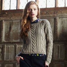 Cable Panelled Sweater - experienced level (US 8/5mm) - Debby Bliss