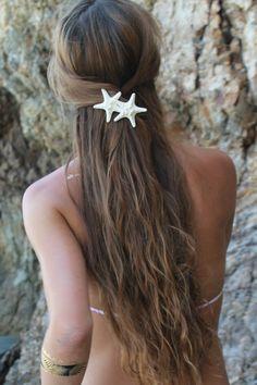 Knobby Duo Barrette, Starfish Hair Clip, Mermaid Accessory, Beach Weddings by PoppyCoast on Etsy