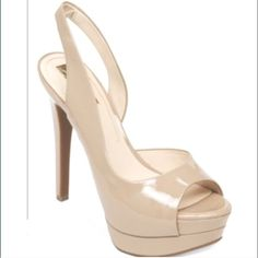 """Jessica Simpson """"Sabella""""  sling back platform """"sabella """" nude  patent leather . Worn once for a short amount of time, so pretty much brand new! It has a 5-1/10""""heel and a platform of 1-3/10"""". Super cute and goes with many outfits . True to size Jessica Simpson Shoes Heels"""
