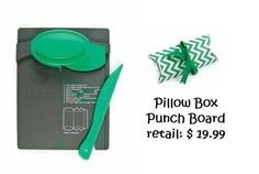 PILLOW BOX PUNCH BOARD...make your own pillow boxes...think of the money you can save. Fill with goodies for b'days, holidays or just because. View items in our FB album...also has link to video showing how easy it is to use this great new tool...we are taking pre-orders now...view more details here:  https://www.facebook.com/CrazyAnniesStitchin/photos_albums
