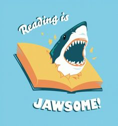 Reading is Jawsome!     Click the image to visit The Book Wheel, where we love books so much we give them away for free every month!