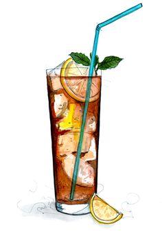 Long Island ice tea illustration by Tracy Hetzel