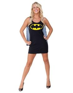 Batman Caped Sleep Tank Dress Adult Womens Costume