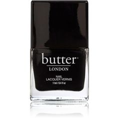Butter London Nail Lacquer - Union Jack Black ($15) ❤ liked on Polyvore featuring beauty products, nail care, nail polish, nails, beauty, makeup, fillers, butter london, butter london nail polish and butter london nail lacquer