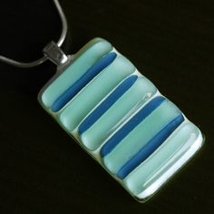 Fused Glass Pendant Necklace SEAWEED Unique Glass Fused by Tias, $20.00