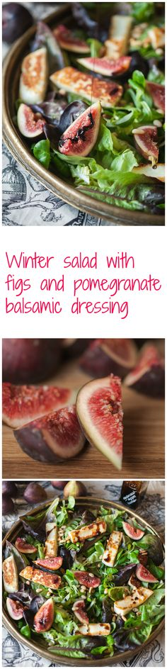 Winter Salad with Figs and Pomegranate Balsamic Dressing-perfect for a light dinner or a glorious lunch. #Christmas #vegetarian