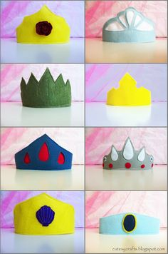 Cutesy Crafts: Felt Princess Crowns - I think this can be made with cartons...