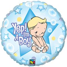 18 Inch Yep! I'M A Boy Foil Pkg Baby Shower Balloon (Pack of 5)