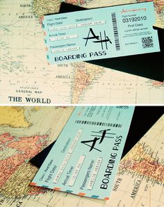 airline ticket invite - cute for destination wedding invite or save the date