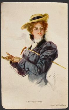 Harrison Fisher Thoroughbred Lady Equestrian Postcard