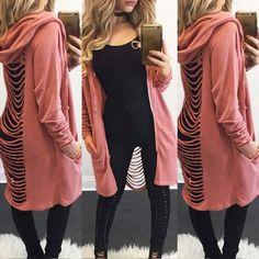 2017 Autumn Women Oversized Cardigan Hooded Zip Up Asymmetrical Jacket Long Sleeve Casual Solid Outwear Hoodies Coat Hooded Sweater, Sweater Coats, Sweaters, Sweater Jacket, Cardigans For Women, Coats For Women, Clothes For Women, Women's Cardigans, Oversized Cardigan