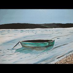 Green Boat in Sengecontacket, Oak Bluffs - Painting by Martha's Vineyard Artist Jasmine Thompson.