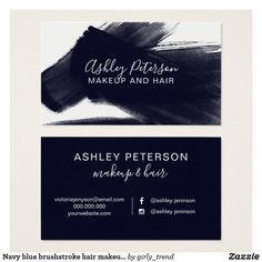Navy blue brushstroke hair makeup typography business card