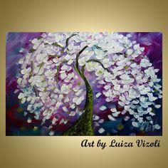 Original Cherry Magnolia Tree Flowers Impasto Oil Large Painting by Luiza Vizoli 36 by 24