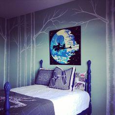 Little boys room - inspired by #ReturnOfTheJedi - Star Wars VI.    #thatsnomoon #endor #ewoks #boysroom #starwars #trees #mural