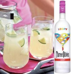 """Loopy Limeade""  2 ounces lemonade  2 ounces frozen lime concentrate  2 ounces Three Olives Loopy Vodka  Splash of club soda  Mix lemonade, lime concentrate and Loopy. Serve frozen or on the rocks. Add club soda to taste."