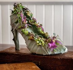 botanical shoe covered with silber leaf