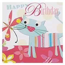 Buy Black Olive Cat & Butterfly Birthday Card Online at johnlewis.com