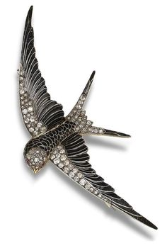 An enamel and diamond swallow brooch, circa 1900  Modelled as a swallow in flight, with black enamelled feathers, the head, wings and tail feathers highlighted with old brilliant and rose-cut diamonds, the eyes with circular-cut rubies, mounted in silver and gold, old brilliant-cut diamonds approximately 1.60 carats total, detachable brooch fitting, fitted case by Harvey & Gore, 1 Vigo Street, London W