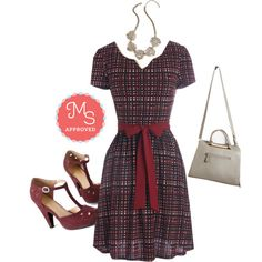 In this outfit: Quite the Travelista Dress, To Catch a Reef Necklace, Rite of Passion Bag, The Zest is History Heel in Burgundy #burgundy #fall #chic #minimal #plaid #style #outfits #ootd #dresses #heels #retro #vintage #ModCloth #ModStylist #fashion