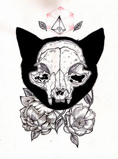 cat skull with flowers